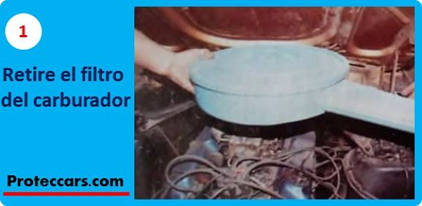 Paso 1 retire el filtro del carburador para hacer el mantenimiento del distribuidor