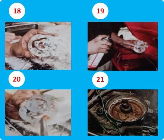 Pasos 18 al 21 el mantenimiento del distribuidor, apliacando lubricante y grasa
