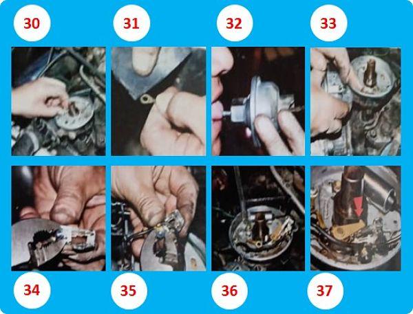 pasos 30 al 37 Sobre reparación correctiva del distribuidor eléctrico de un auto