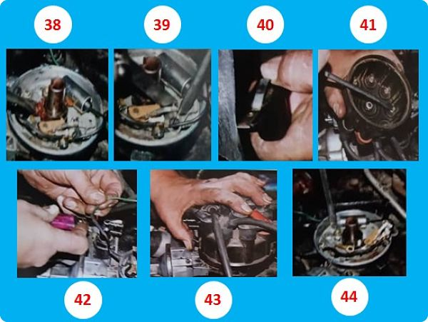 pasos 38 al 44 Sobre reparación correctiva del distribuidor eléctrico de un auto